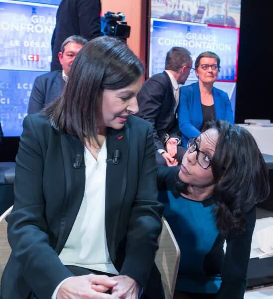 Anne Hidalgo et Audrey Pulvar, lors du grand débat avec tous les candidats à la mairie de Paris sur la chaine LCI, le 4 mars 2020.
