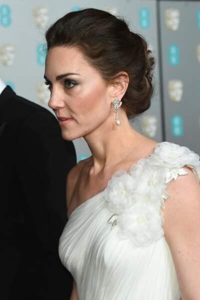 Kate Middleton : Un chignon ultra chic pour la soirée des Bafta, le 10 février 2019.