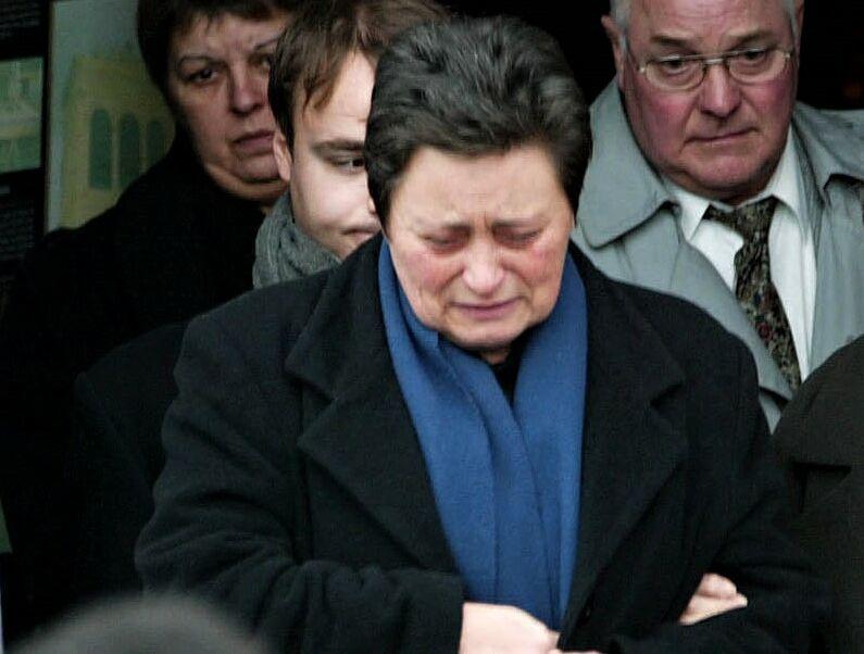 Ghislaine Villeret à l'enterrement de son frère Jacques, à Loches, le 3 février 2005.