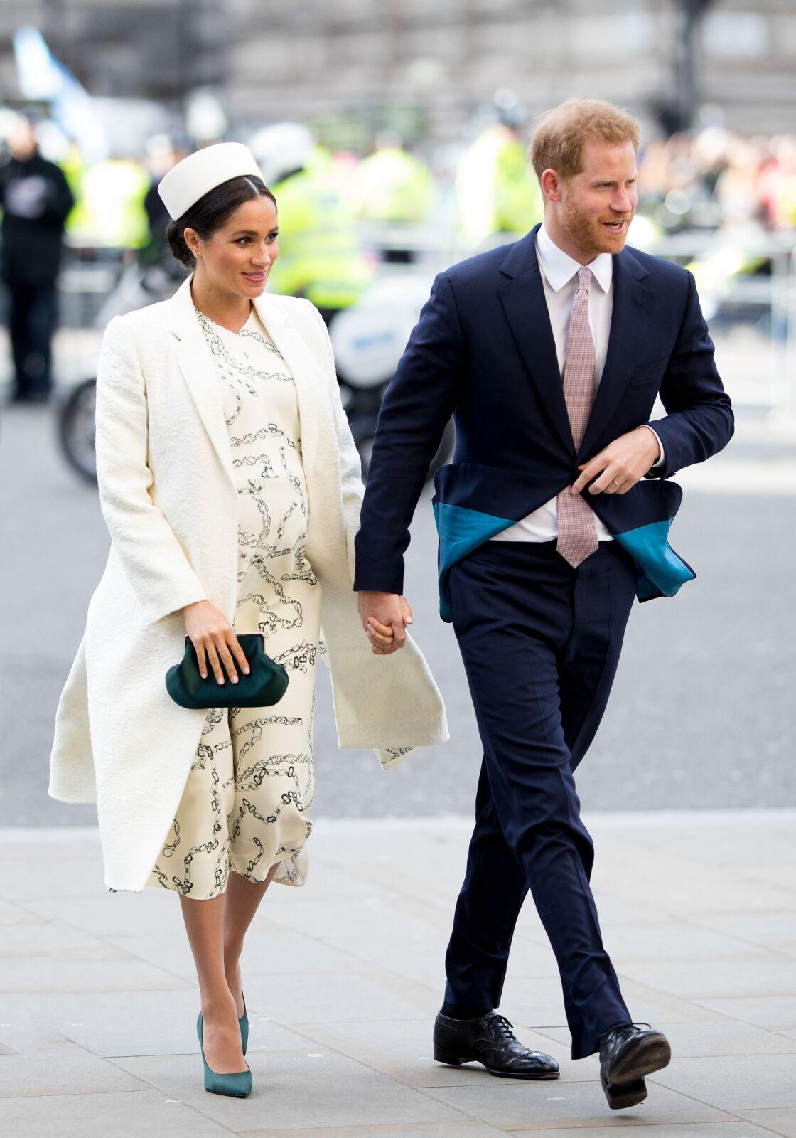 Meghan Markle, (enceinte) et le prince Harry, duc de Sussex lors de la messe en l'honneur de la journée du Commonwealth à l'abbaye de Westminster à Londres, le 11 mars 2019.