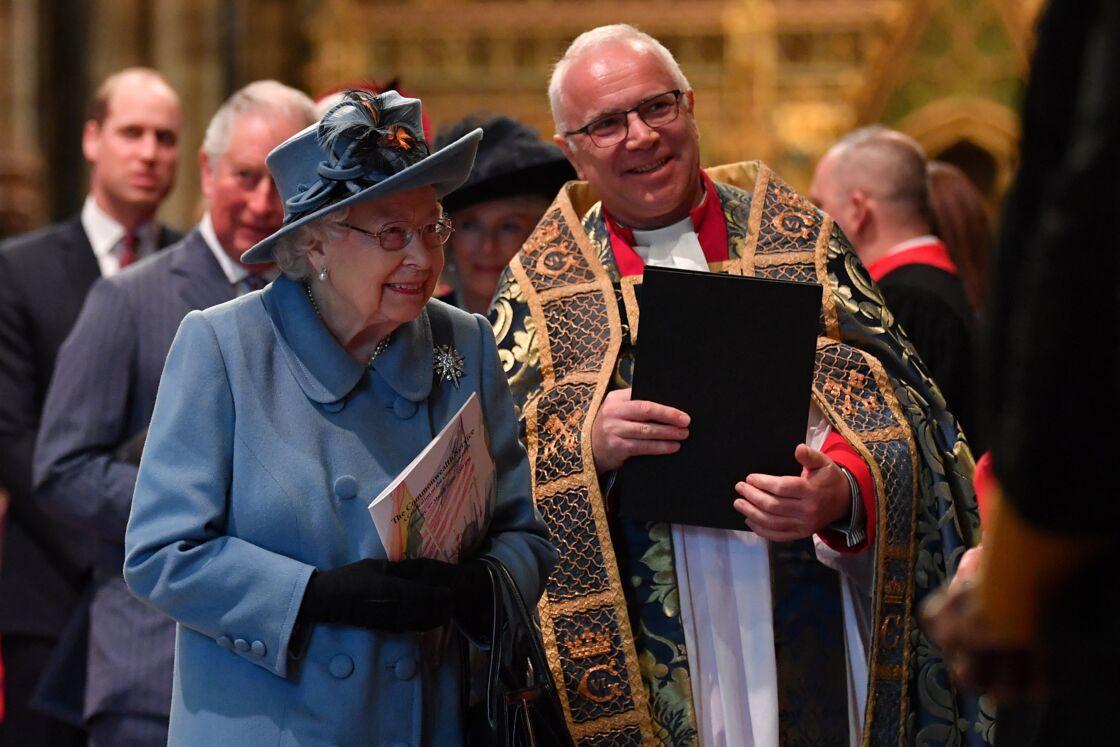 La reine Elisabeth II d'Angleterre - La famille royale d'Angleterre lors de la cérémonie du Commonwealth en l'abbaye de Westminster à Londres. Le 9 mars 2020