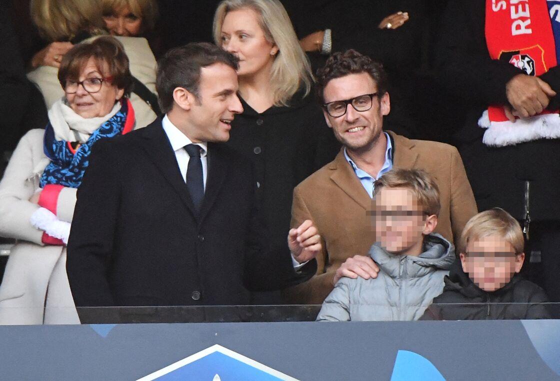 Emmanuel et Laurent Macron au Stade de France, le 27 avril 2019