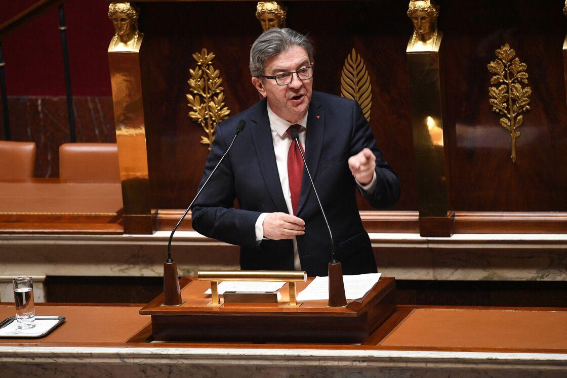 Jean-Luc Mélenchon à l'Assemblée Nationale à Paris le 28 avril 2020.