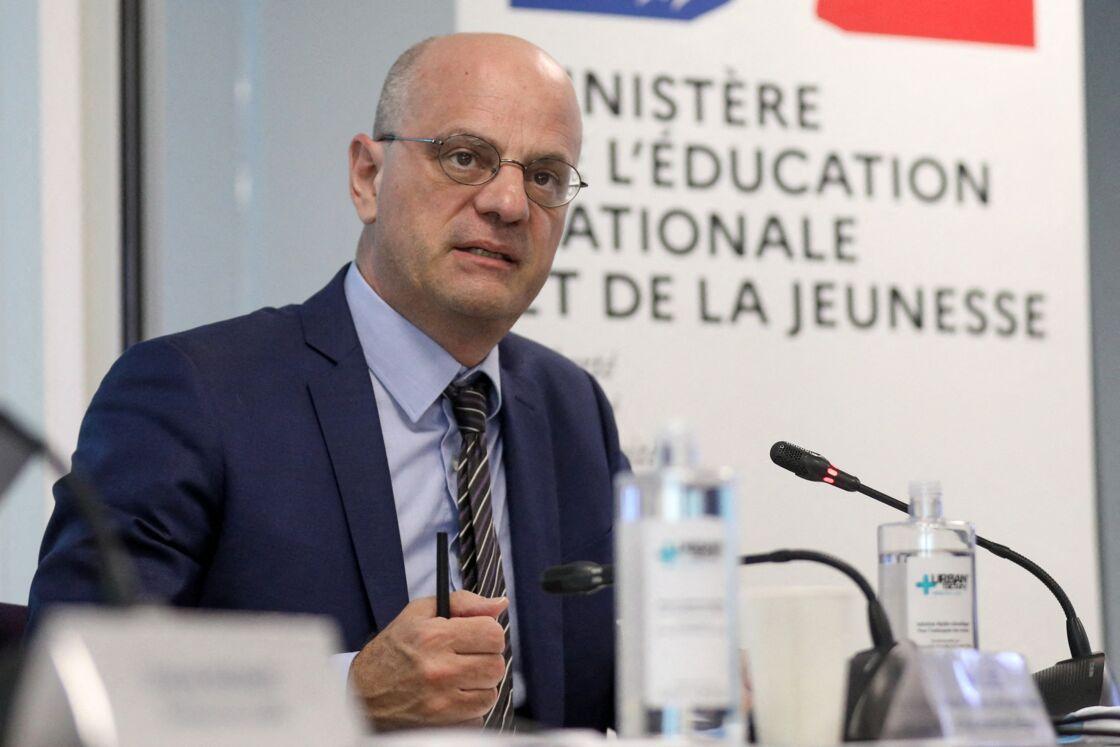 Jean-Michel Blanquer, ministre de l'éducation nationale lors de la Réunion du comité national de suivi de l'école inclusive à la Caisse Nationale de Solidarité pour l'Autonomie à Paris le 30 juin 2020.