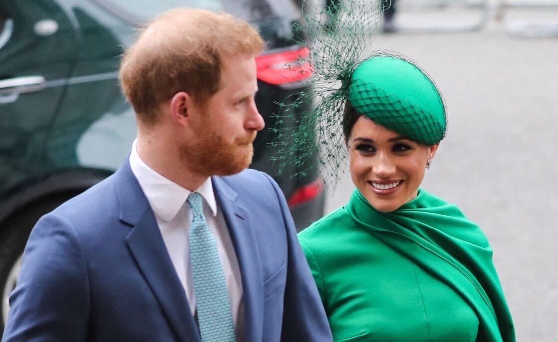 Le prince Harry, duc de Sussex, et Meghan Markle, duchesse de Sussex - La famille royale d'Angleterre à la sortie de la cérémonie du Commonwealth en l'abbaye de Westminster à Londres, le 9 mars 2020.