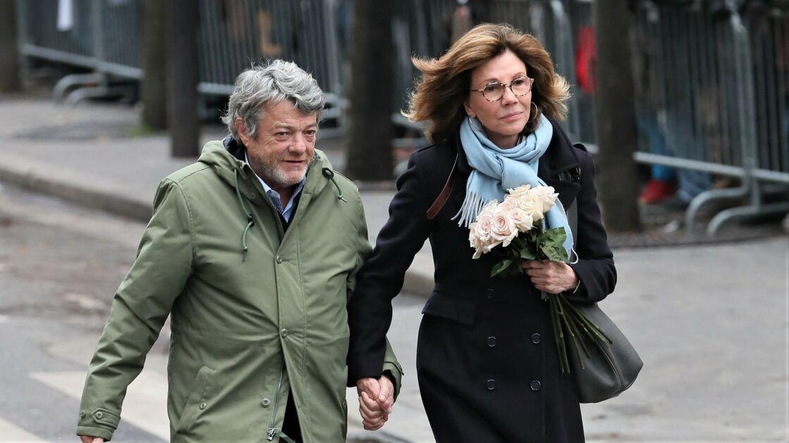 Jean-Louis Borloo et Béatrice Schönberg aux obsèques de France Gall, à Paris, le 12 janvier 2018.