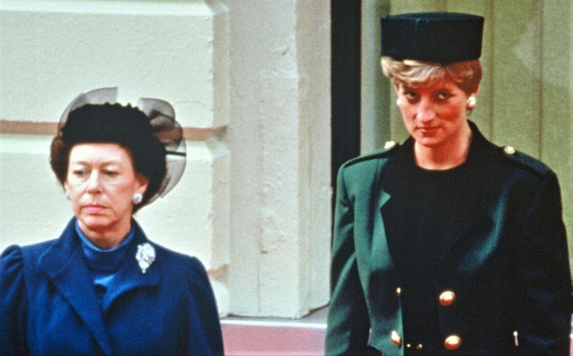 La princesse Margaret et la princesse Diana, à Londres, en 1991.