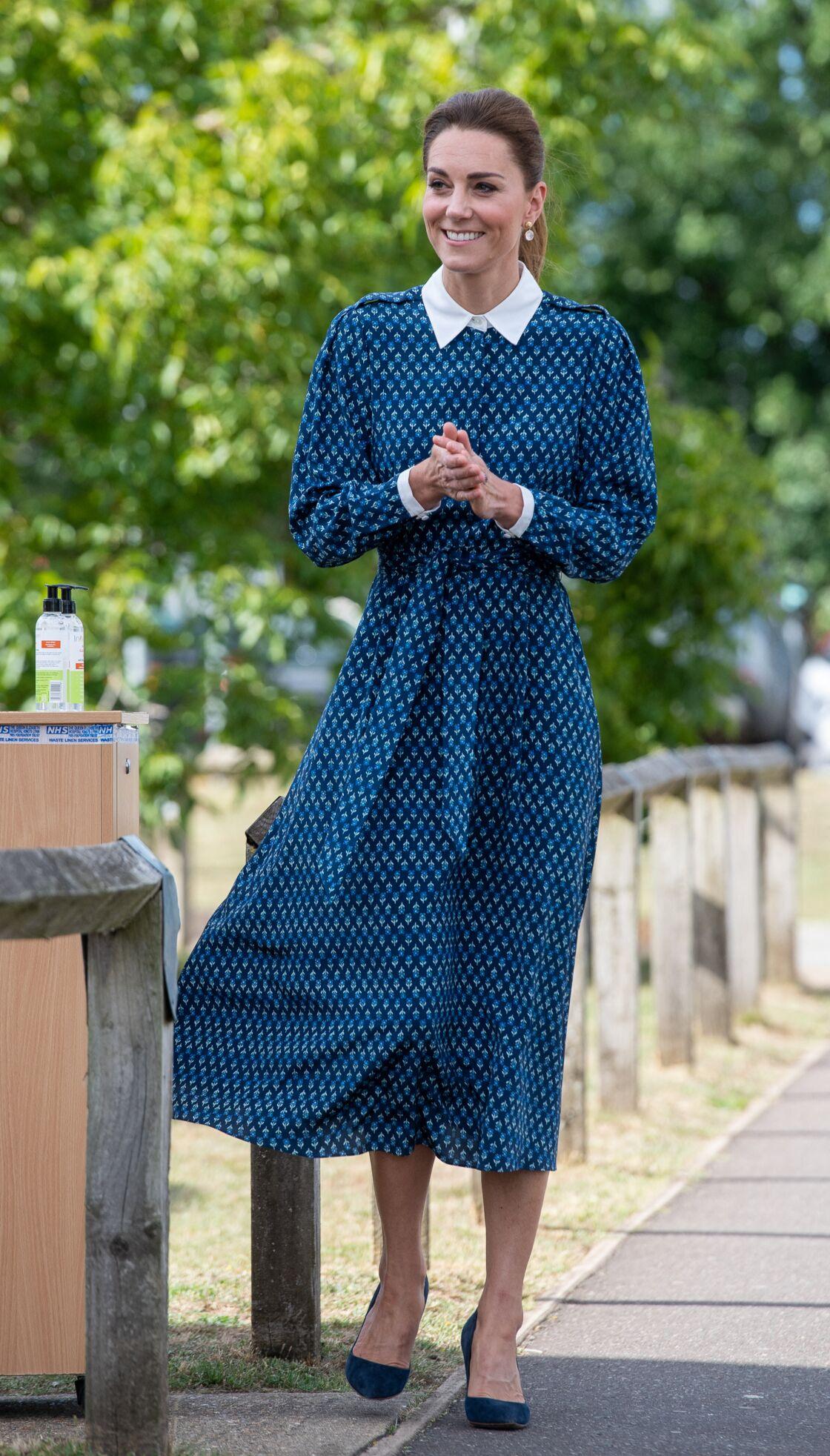 Kate Middleton, lors d'une visite aux soignants du Queen Elizabeth Hospital, à King's Lynn, dans le Norfolk, ce 5 juillet 2020.