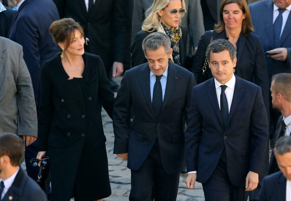 Carla Bruni Sarkozy et Nicolas Sarkozy, Gérald Darmanin - Arrivées à l'hommage national à Charles Aznavour à l'Hôtel des Invalides à Paris. Le 5 octobre 2018
