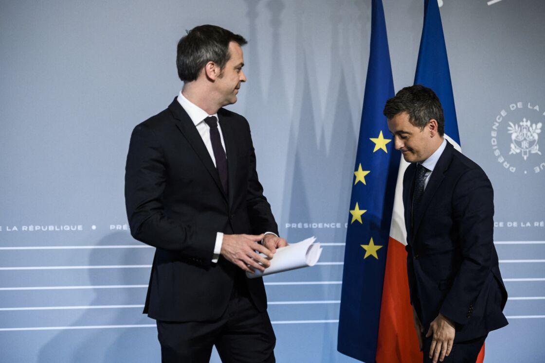 Olivier Véran (ministre de la Santé) et Gérald Darmanin (ministre de l'Intérieur)