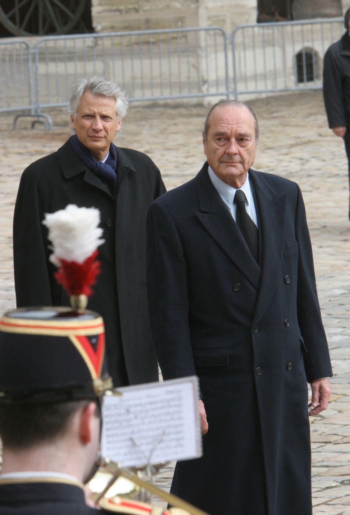 Dominique de Villepin et Jacques Chirac lors de la cérémonie solennelle en hommage à Lucie Aubrac, le 21 mars 2007