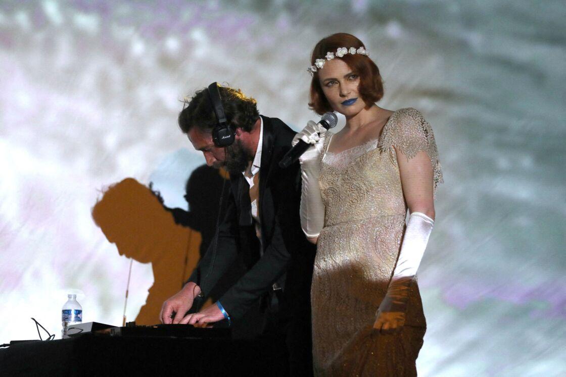Elodie Frégé et Prieur de la Marne à la soirée d'ouverture du Porquerolles Film Festival le 8 juillet 2020