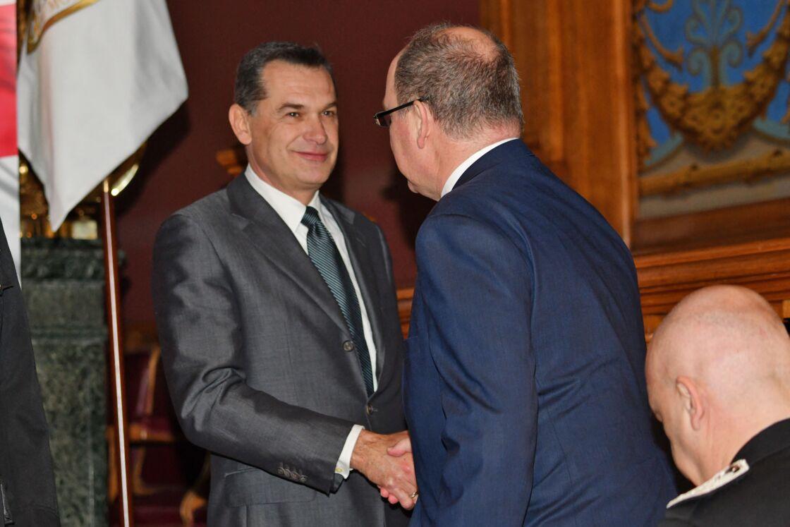 Jean-Raymond Gottlieb et le prince Albert durant la cérémonie des voeux de la Sûreté Publique de Monaco, le 22 janvier 2019.
