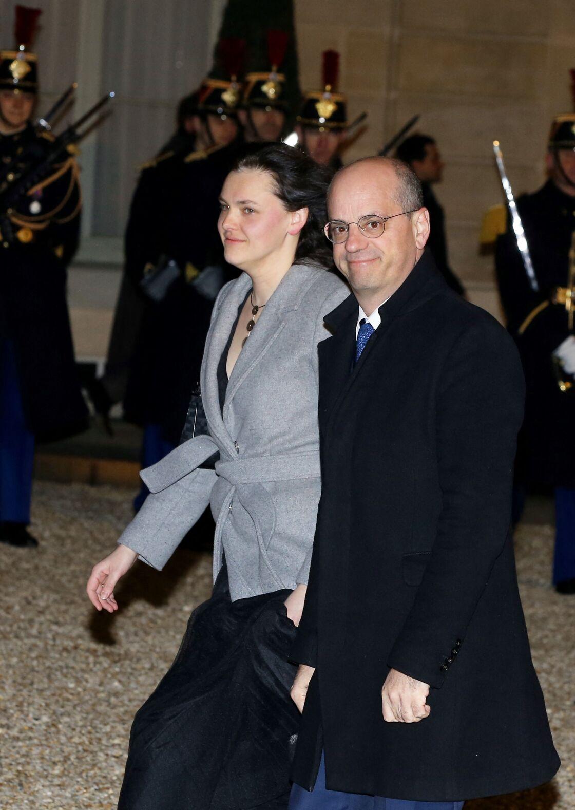 Aurélia Devos et Jean-Michel Blanquer à l'Élysée, le 19 mars 2018