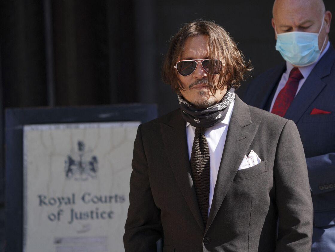 Johnny Depp au tribunal le quatrième jour de son procès contre le journal The Sun à Londres le 10 juillet 2020