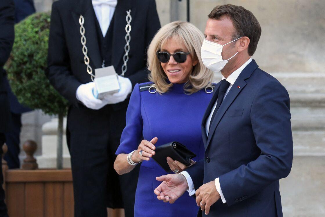Brigitte et Emmanuel Macron à l'Hôtel de Brienne pour le discours du président aux armées, le 13 juillet 2020.