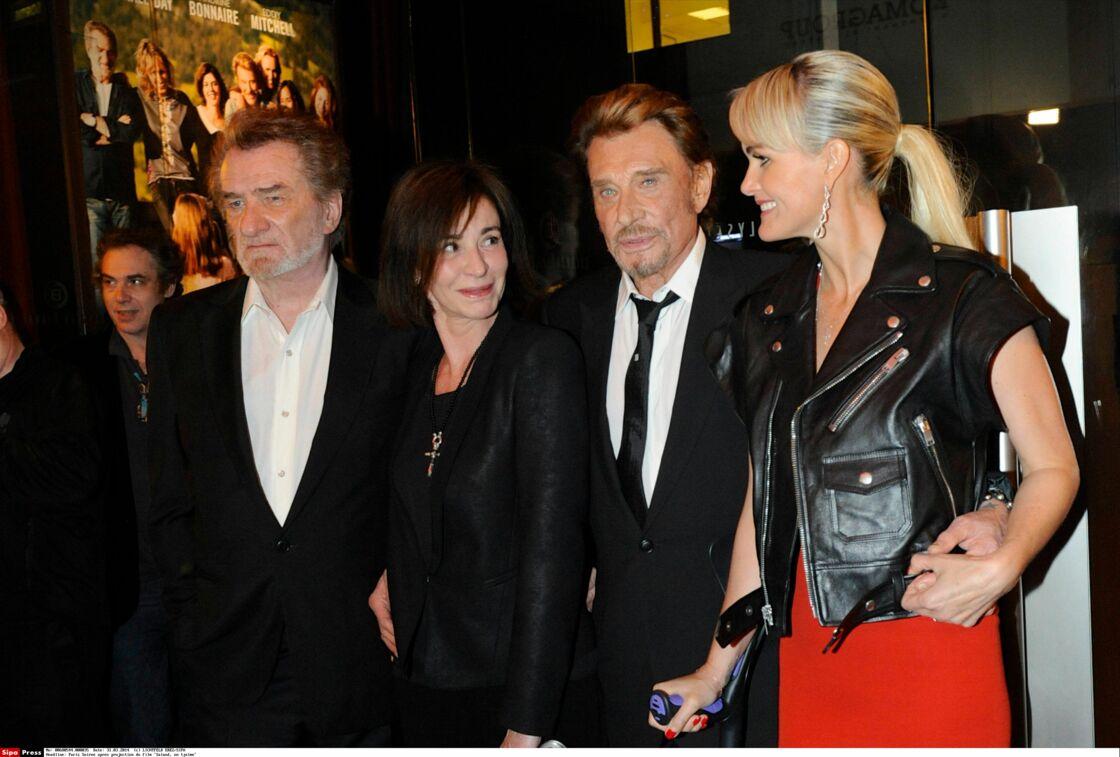 Laeticia, Johnny Hallyday et Eddy Mitchell réunis pour la première de Salaud on t'aime
