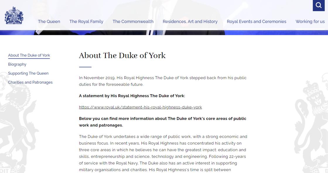 Le site consacré au prince Andrew n'est plus accessible et redirige ce 16 juillet vers une page annonçant son départ