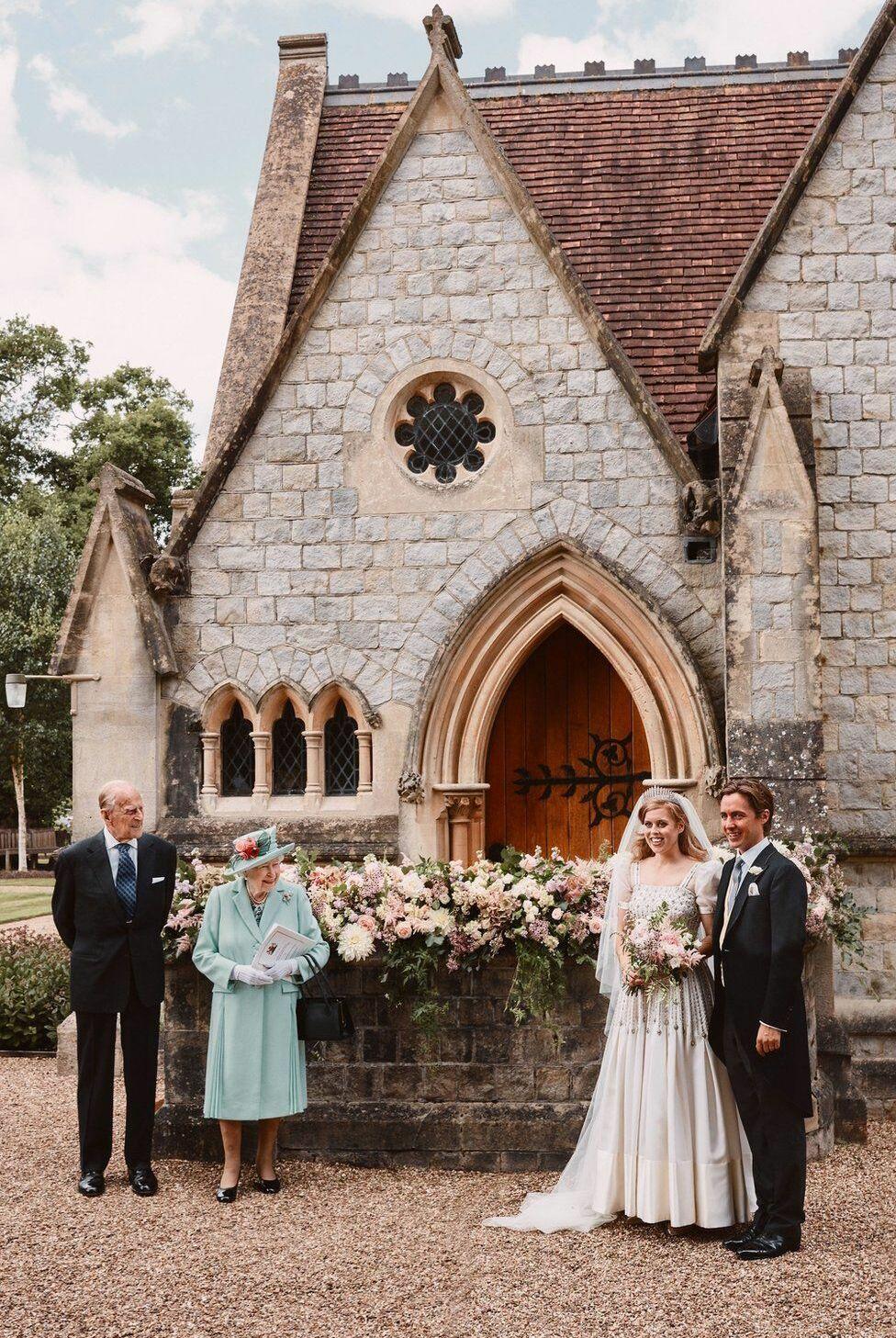 Mariage de la prince Beatrice d'York avec Edoardo Mapelli Mozzi, le 17 juillet 2020, en présence de la reine Elizabeth II et du prince Philip