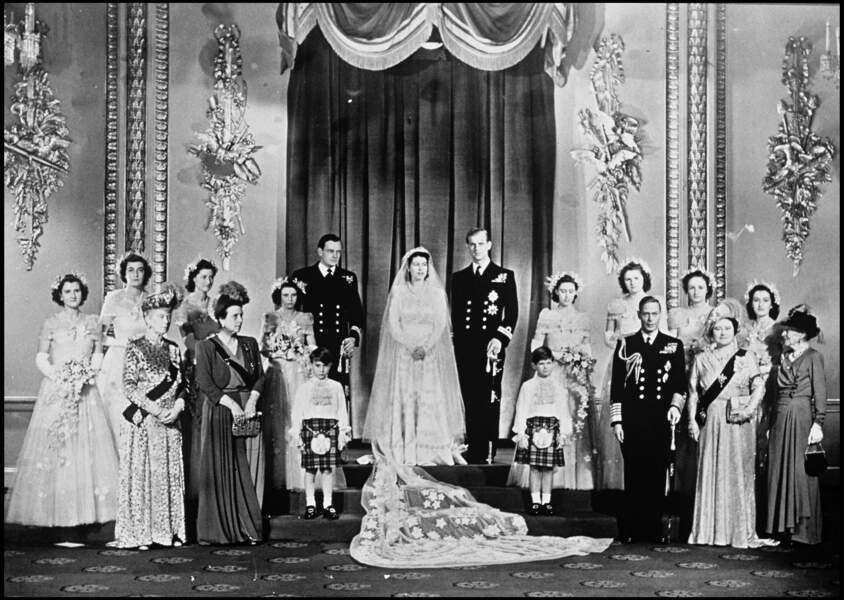 Photo officielle du mariage de la reine Elizabeth II et du prince Philip