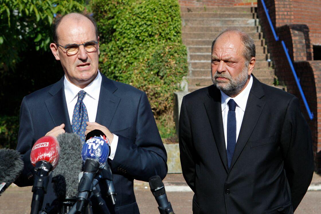 Jean Castex et Éric Dupond-Moretti, devant le tribunal judiciaire de Bobigny, le 8 juillet 2020
