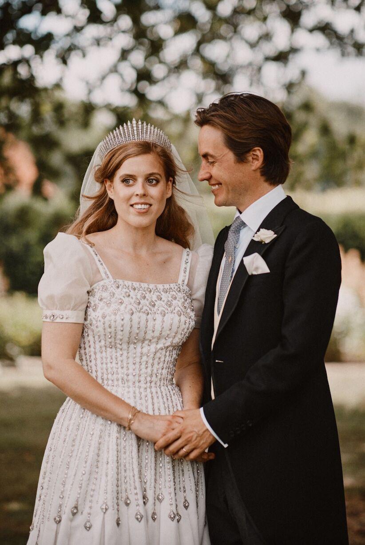 La princesse Beatrice d'York, et son époux Edoardo, lors de leur mariage, le vendredi 17 juillet 2020.