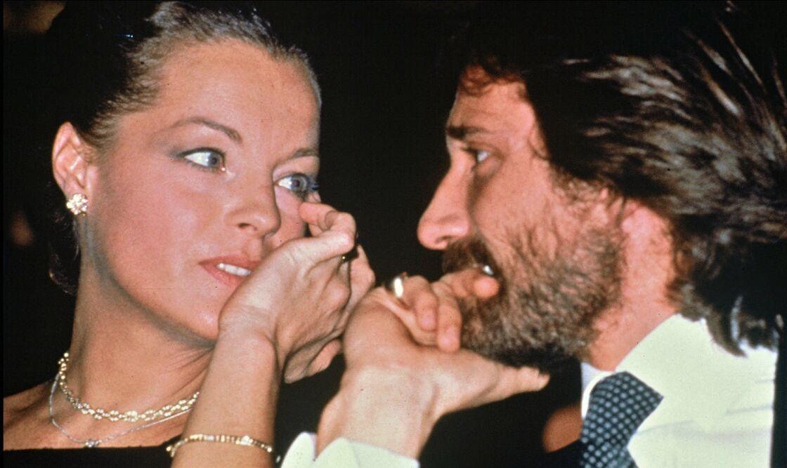 Romy Schneider et Daniel Biasini à Paris, le 1er octobre 1980.