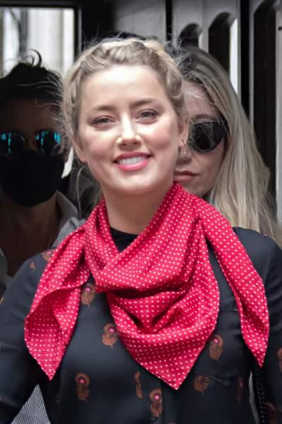 Amber Heard à son arrivée à la cour royale de justice à Londres, pour le procès en diffamation contre le magazine The Sun Newspaper, le 15 juillet 2020.