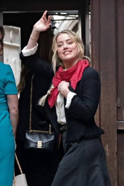 Amber Heard, au tribunal de Londres pour une nouvelle journée d'audience dans le cadre du procès engagé contre The Sun, le 18 juillet 2020.