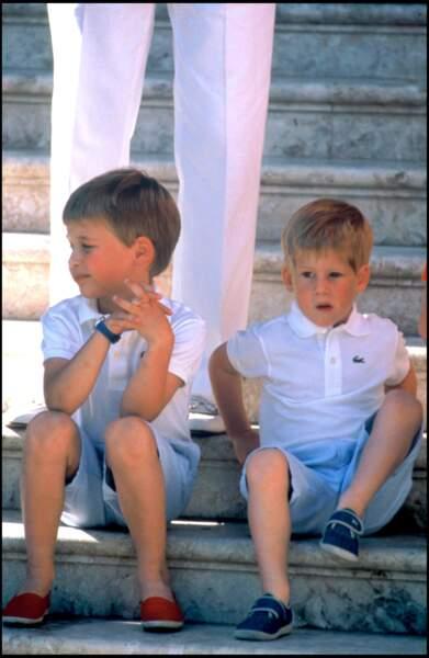 William et Harry en polo en 1988.