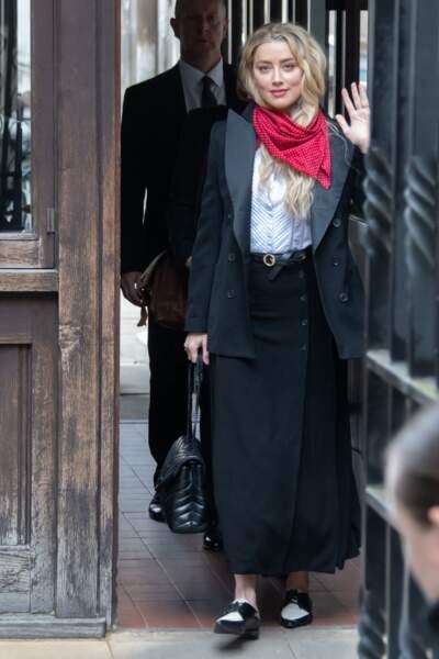 Amber Heard, à la cour de justice à Londres dans le cadre du procès contre le journal The Sun, le 14 juillet 2020.