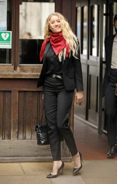 Amber Heard arrive à la Royal Courts of Justice  à Londres, le 16 juillet 2020.