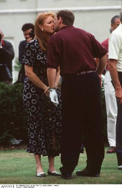 Sarah Ferguson et le prince Andrew, au tournoi de golf de Wentworth, le 7 août 1995.