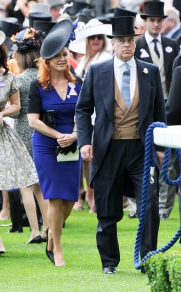 Sarah Ferguson et le prince Andrew, lors des courses du Royal Ascot, le 19 juin 2015.