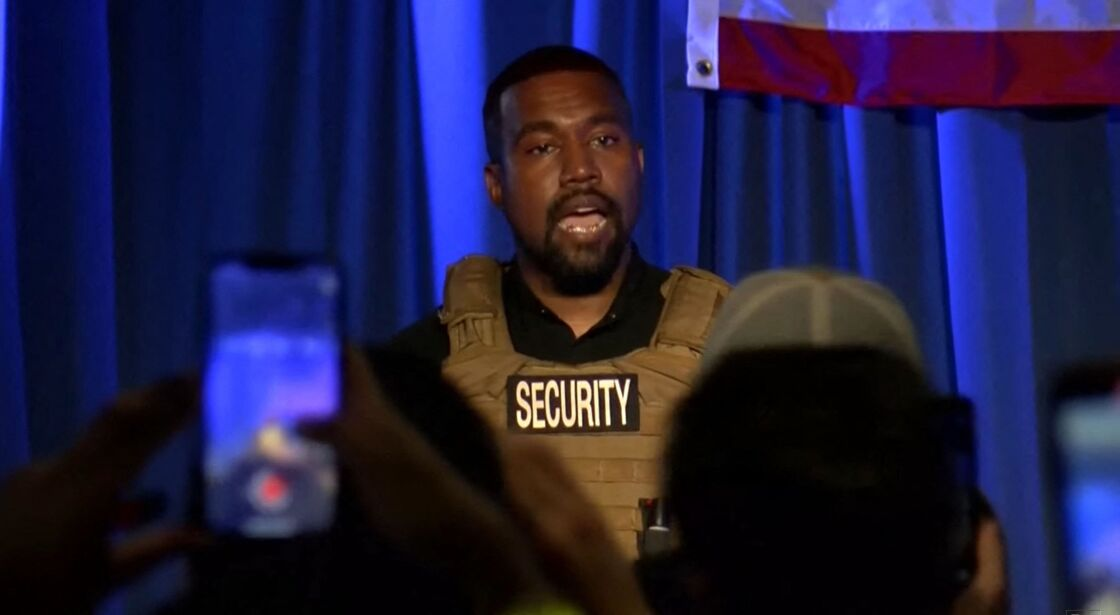 Kanye West lors de son premier meeting