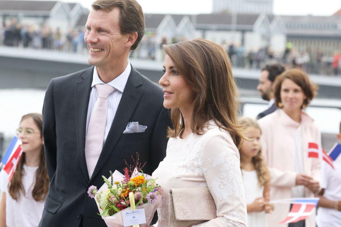 Le prince Joachim de Danemark, la princesse Marie de Danemark - Arrivées à la réception de retour offerte en l'honneur de S.M la reine Margrethe II de Danemark par le président de la république sur le parvis du théâtre royal de Copenhague le 29 août 2018.