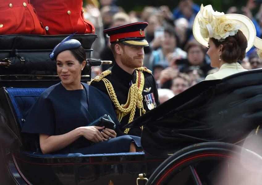 Pendant la parade Trooping the Colour 2019, célébrant le 93ème anniversaire de la reine Elisabeth II, au palais de Buckingham, le 8 juin 2019, les belles soeurs étaient apparues ensemble mais distantes.