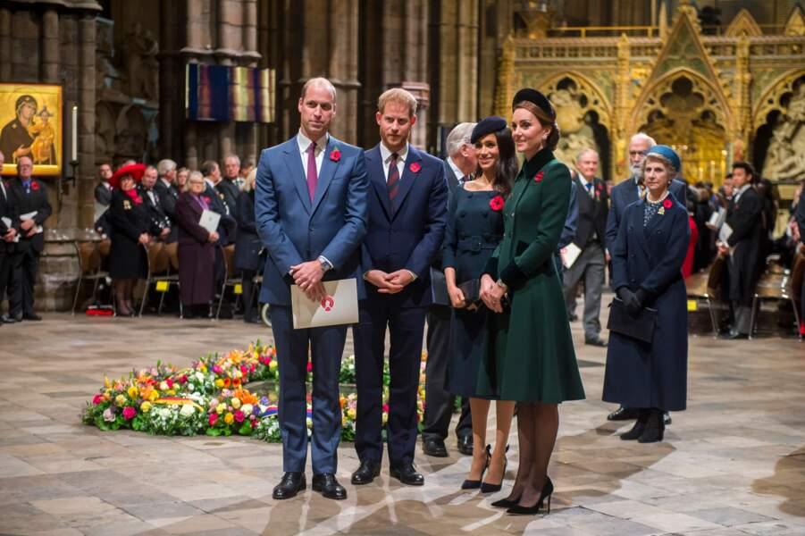 En 2018, les prémices des premières querelles. Les deux belles soeurs faisaient bonne figure lors du centenaire de la fin de la Première Guerre Mondiale à Londres, le 11 novembre 2018.