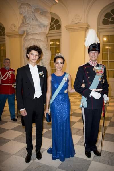 Le prince Nikolai de Danemark, la princesse Marie de Danemark et le prince Joachim de Danemark, lors du gala pour les 50 ans du prince Frederik de Danemark, le 26 mai 2018.