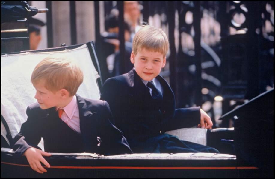 Lors de la parade Trooping the colour en 1989, Harry et William se familiarisent ensemble avec le protocole. Les deux jeunes garçons se montrent aussi timides que curieux.