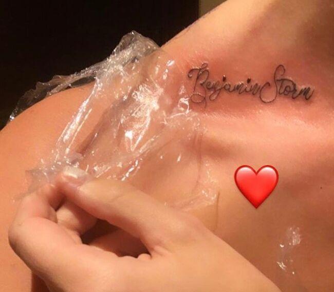 Capture de la story postée ce 29 juillet par Riley Keough, dévoilant son nouveau tatouage