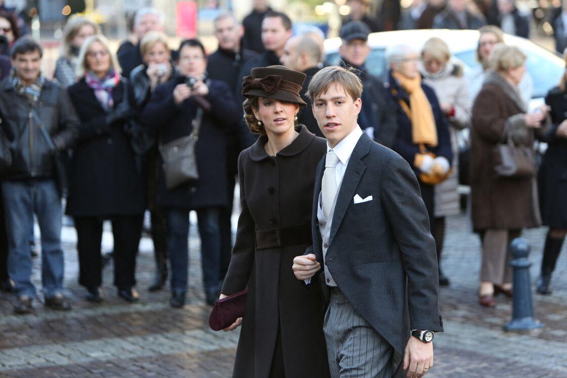 Le Prince Louis de Luxembourg et Tessy de Nassau au mariage de l'archiduc Christoph d'Autriche et de Adelaide Drape-Frisch a la Basilique Saint-Epvre de Nancy, le 29 Decembre 2012
