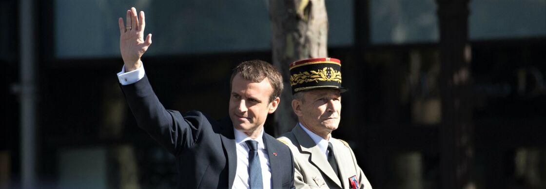 Emmanuel Macron et Pierre de Villiers au défilé du 14 juillet 2017, à Paris.