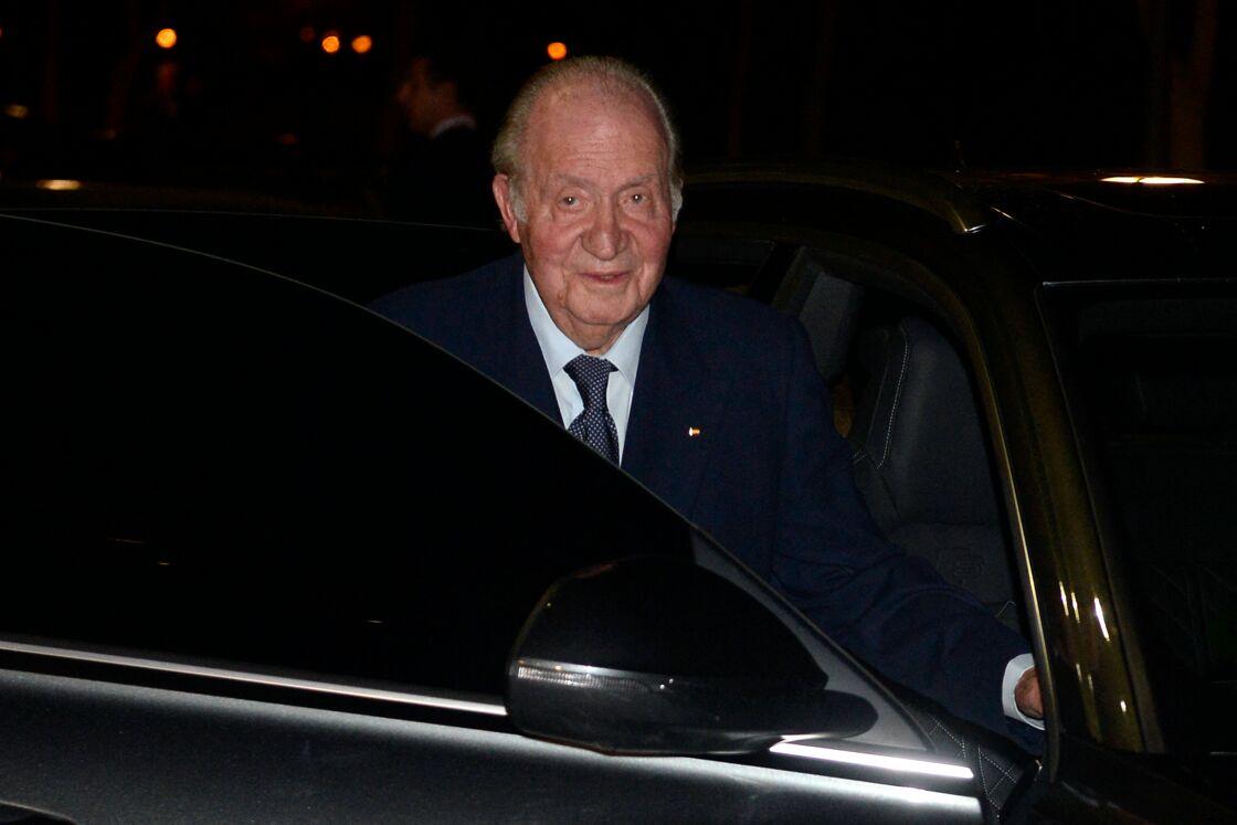 Juan Carlos arrive aux obsèques de l'homme d'affaires mexicain Placido Arango, à Madrid le 17 février 2020.