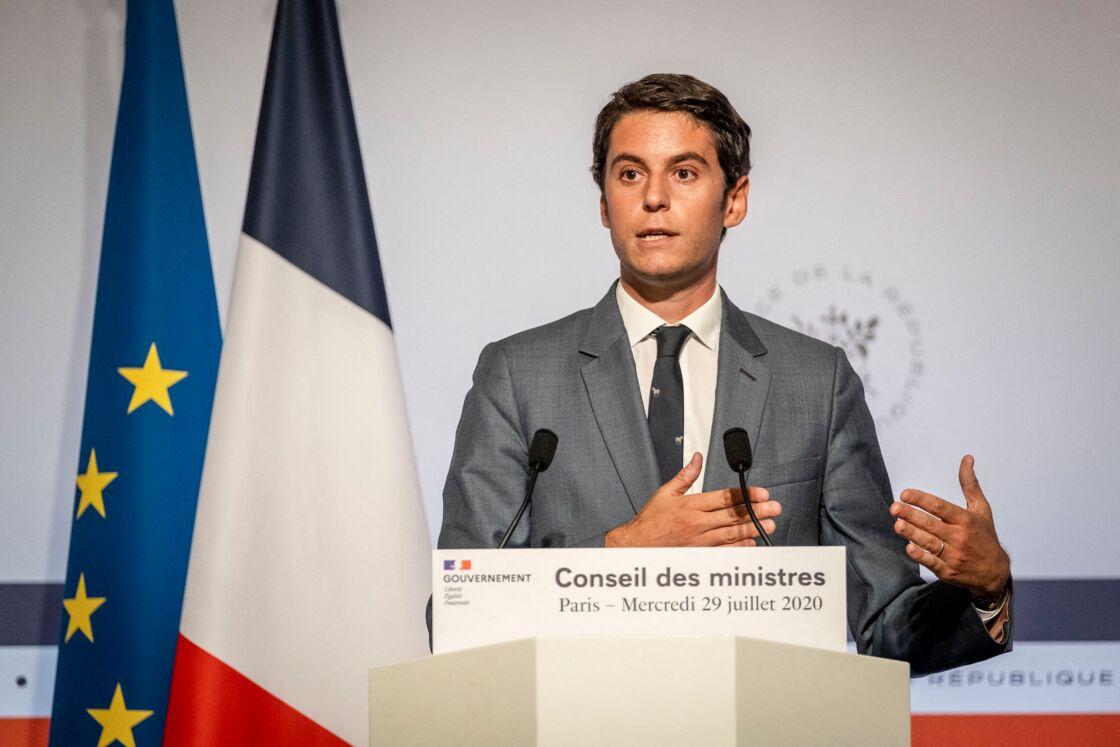 Gabriel Attal lors du point presse à l'issue du dernier Conseil des ministres au palais de l'Elysée à Paris. Le 29 juillet 2020