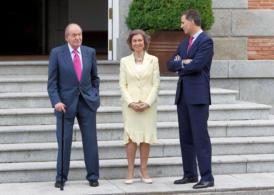 Le couple royal et leur fils, l'actuel roi Felipe VI