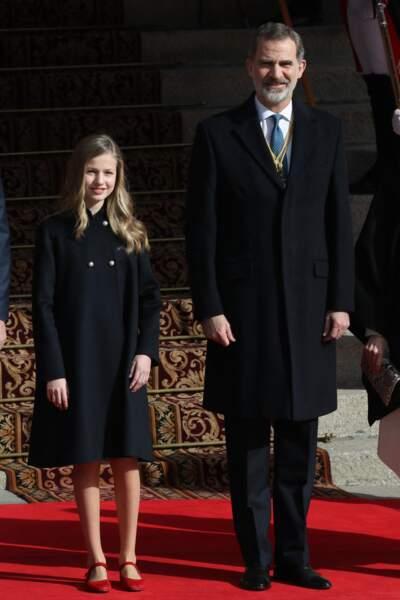 Le roi Felipe VI d'Espagne et sa fille aînée, la princesse Leonor qui lui succèdera sur le trône.