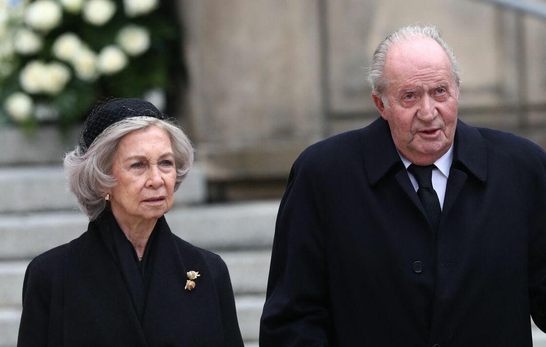 Le roi Juan Carlos Ier et la reine Sofia d'Espagne aux obsèques de Jean de Luxembourg à Luxembourg, le 4 mai 2019