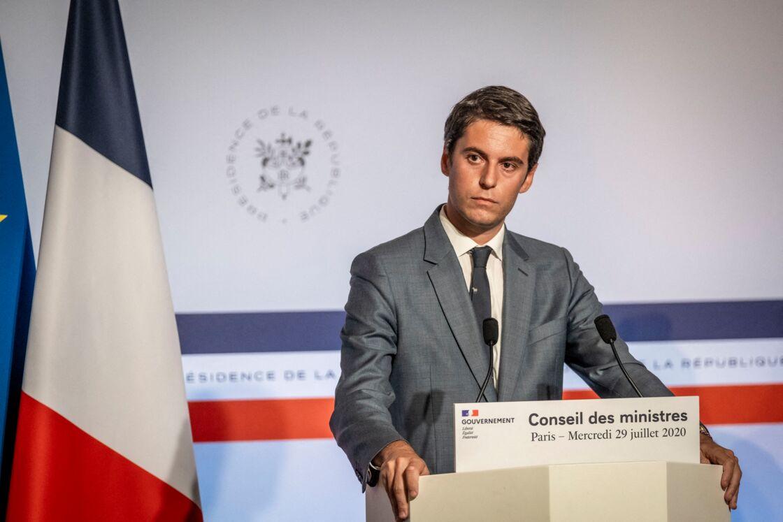 Gabriel Attal lors du point presse à l'issue du dernier Conseil des ministre, le 29 juillet 2020