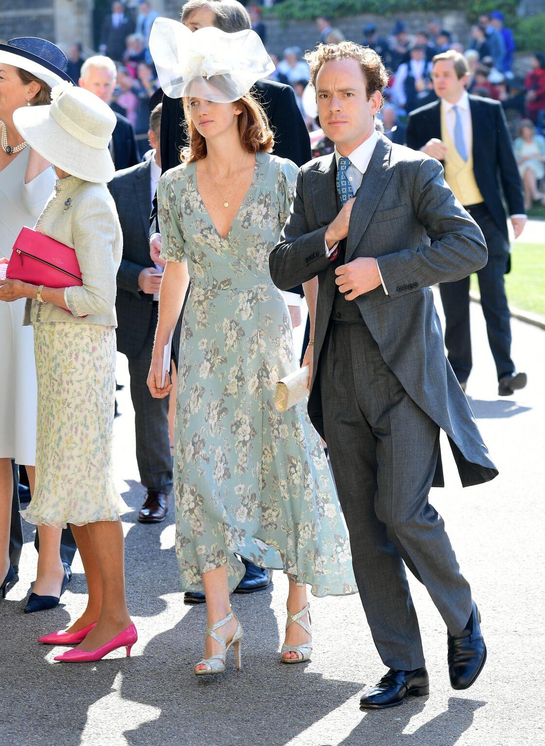 Tom Inskip et sa femme Lara arrivant à la chapelle Saint-George du château de Windsor pour le mariage du prince Harry et de Meghan Markle, le 19 mai 2018